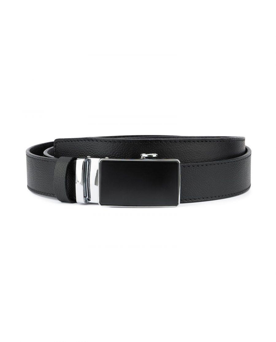 Mens Ratchet Belt Black Italian Leather 1