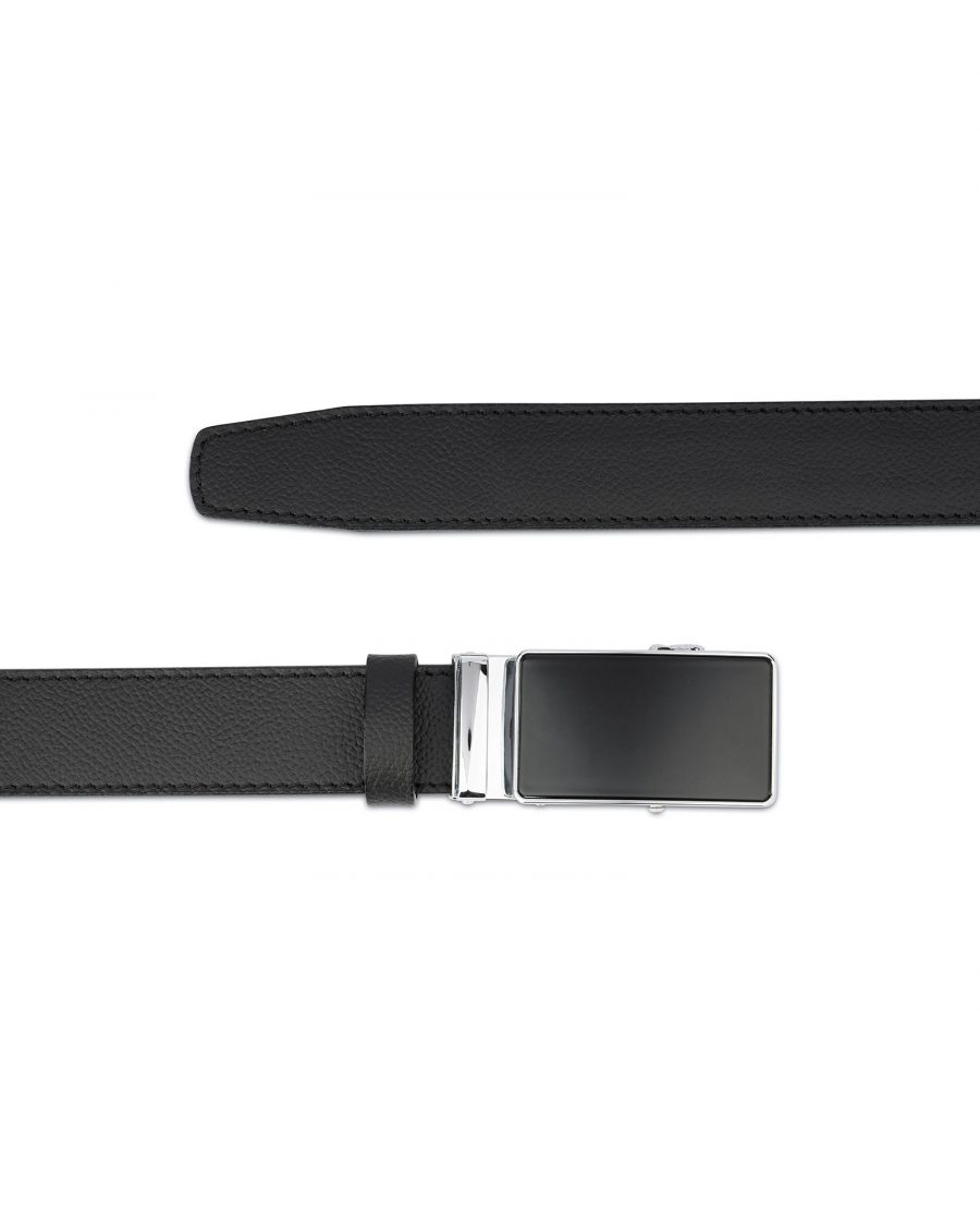 Mens Ratchet Belt Black Italian Leather 3