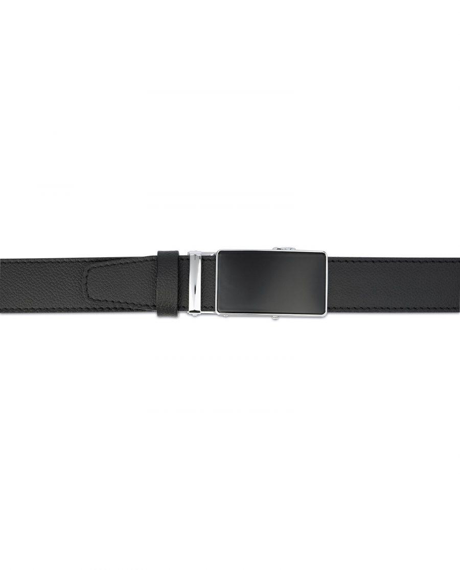 Mens Ratchet Belt Black Italian Leather 4