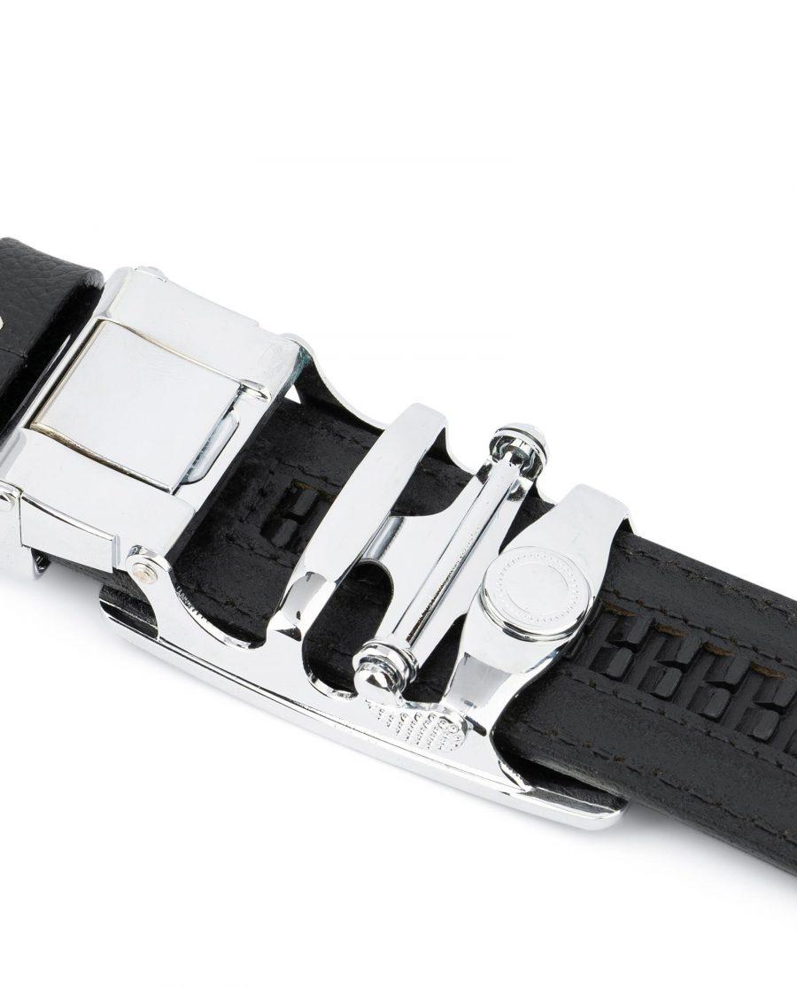 Mens Ratchet Belt Black Italian Leather 5