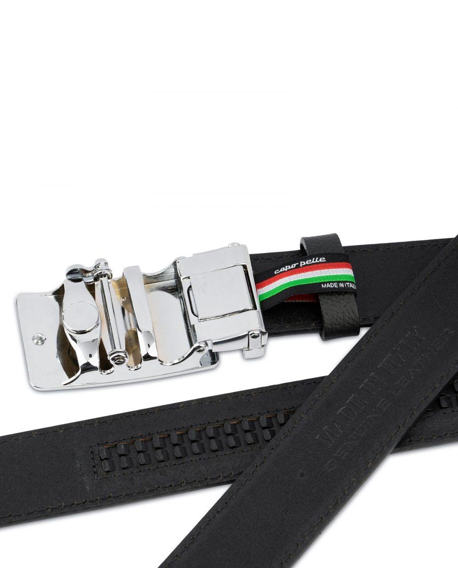 Mens Ratchet Belt Black Italian Leather 6
