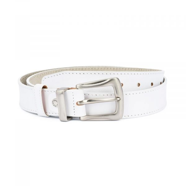 Mens White Leather Belt With Silver Buckle 1