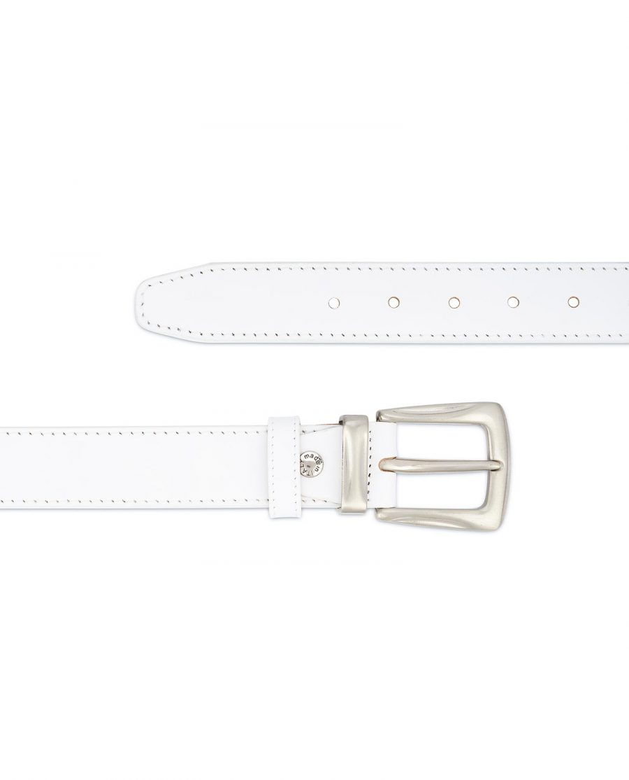 Mens White Leather Belt With Silver Buckle 2