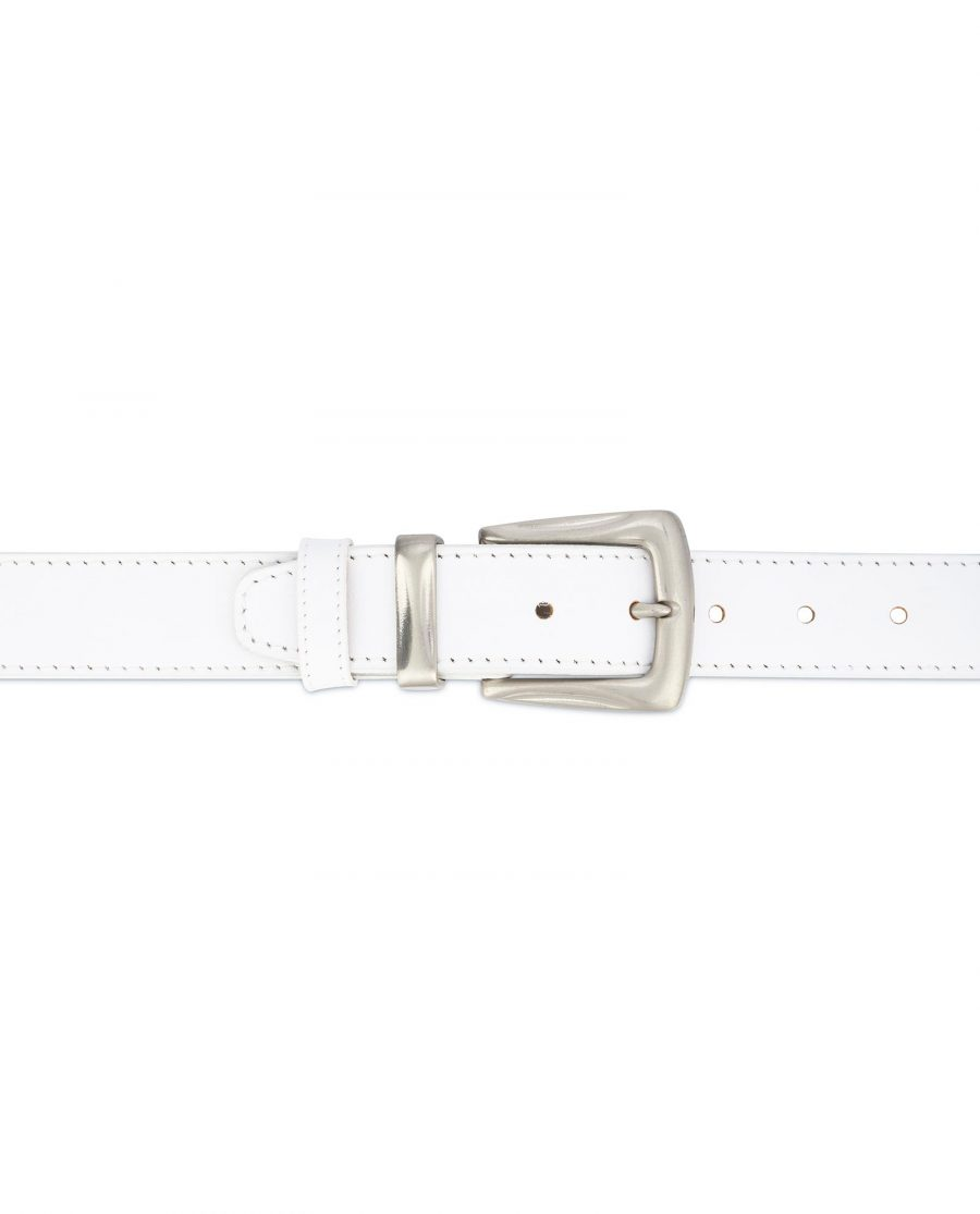 Mens White Leather Belt With Silver Buckle 3