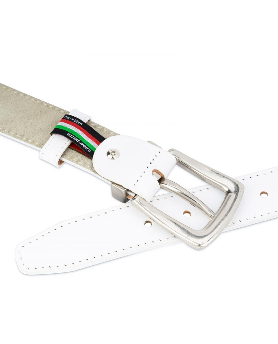 Mens White Leather Belt With Silver Buckle 4