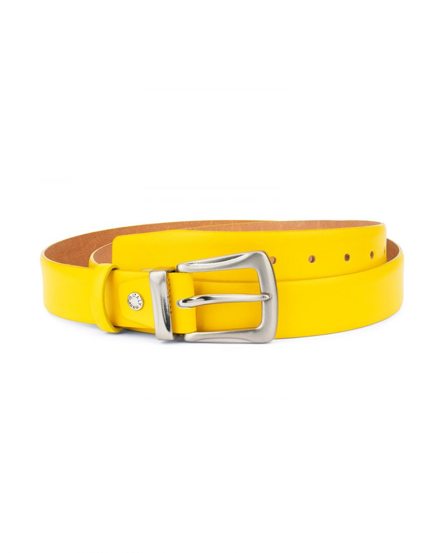 Mens Yellow Belt With Western Silver Buckle 1