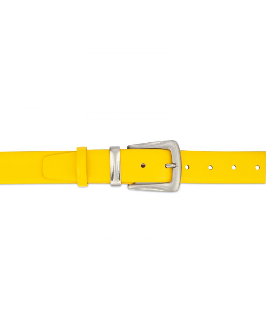 Mens Yellow Belt With Western Silver Buckle 3