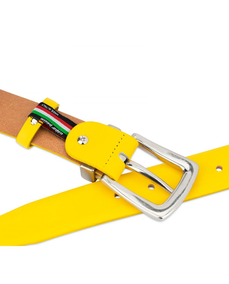 Mens Yellow Belt With Western Silver Buckle 4
