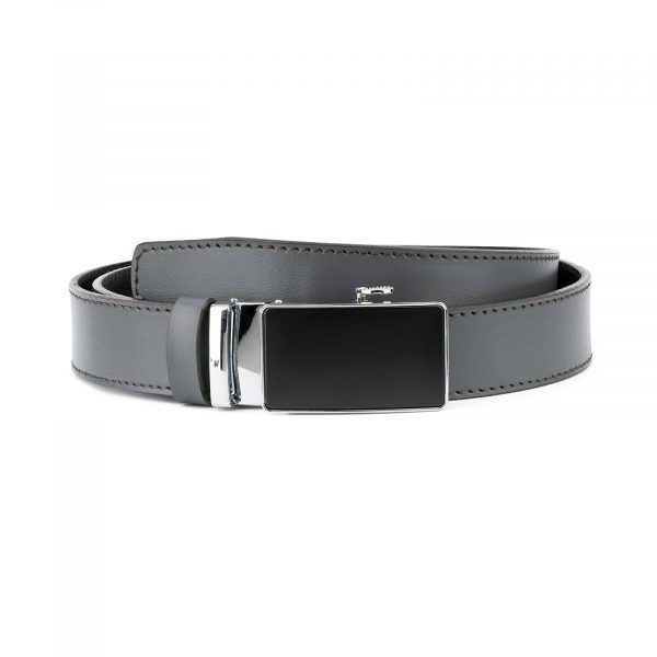 Ratchet Buckle Belt for Men in Gray Leather 1