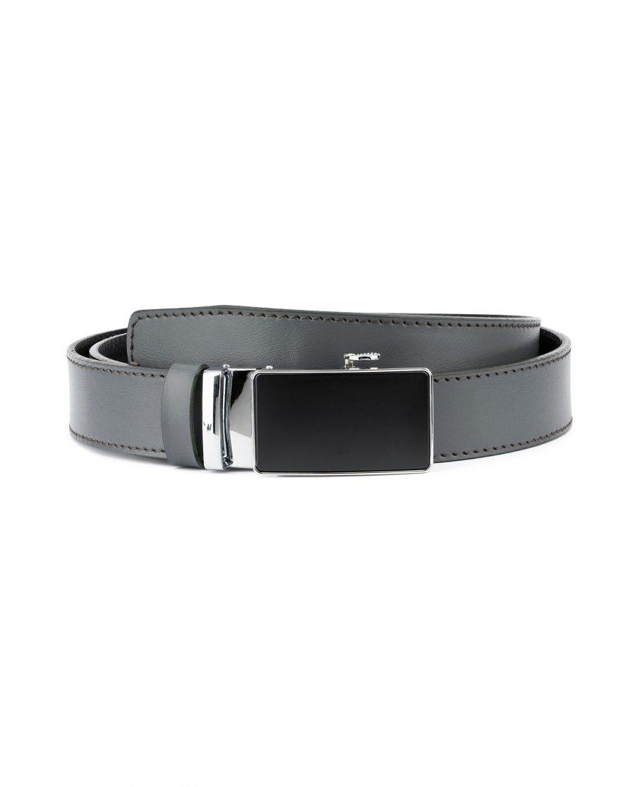 Ratchet Buckle Belt for Men in Gray Leather 1