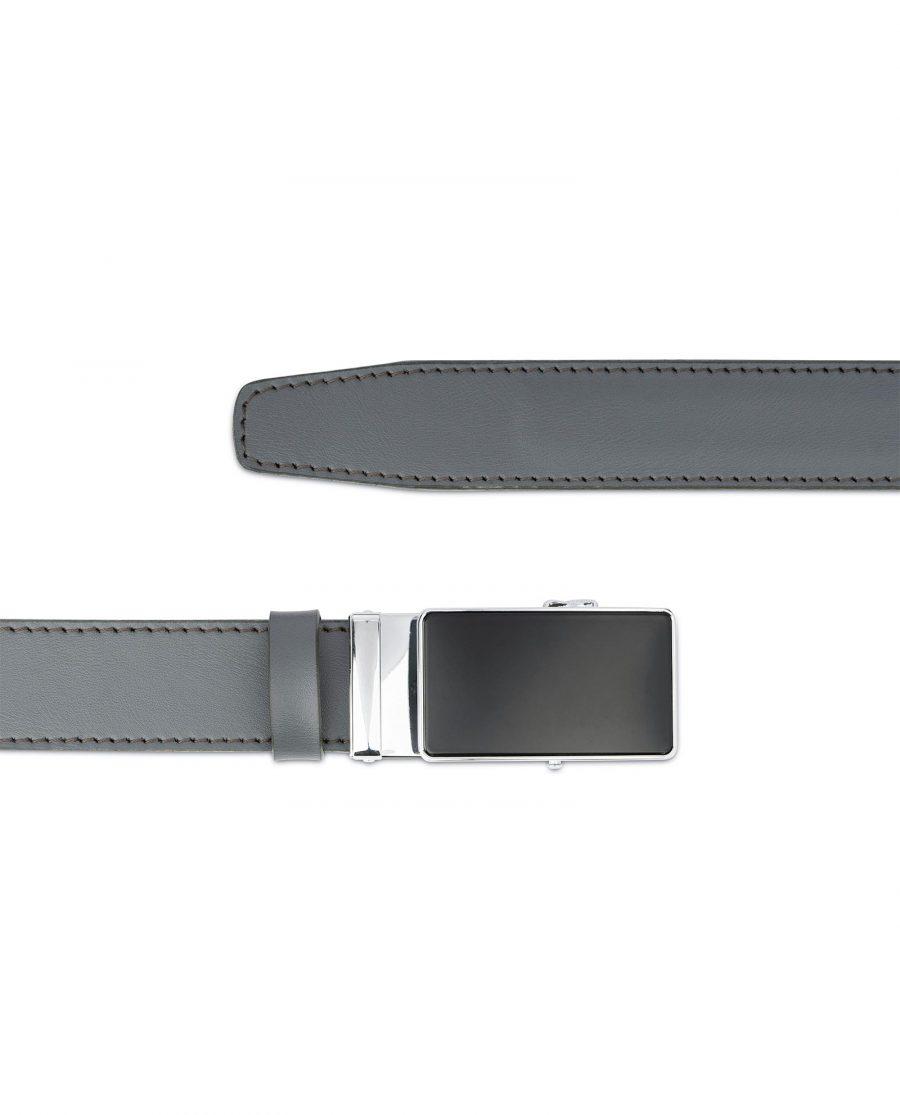 Ratchet Buckle Belt for Men in Gray Leather 3