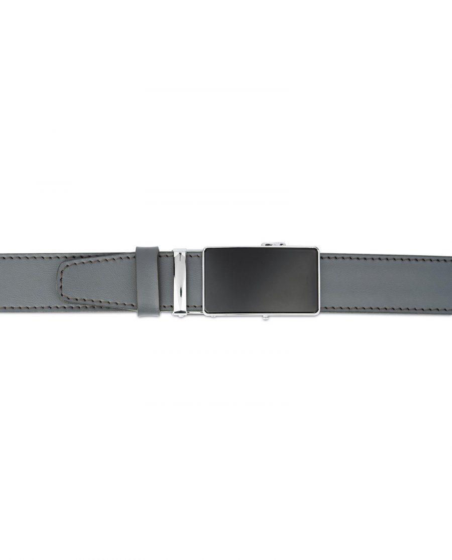Ratchet Buckle Belt for Men in Gray Leather 4