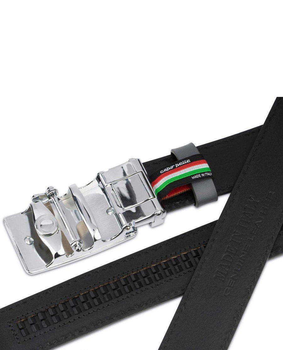 Ratchet Buckle Belt for Men in Gray Leather 6 1