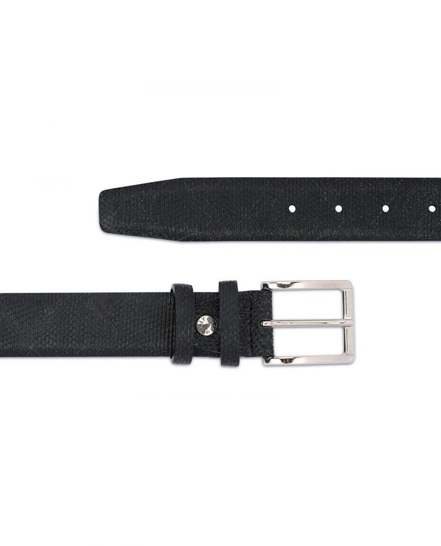 Snake Print Belt for Men Black 3 5 cm 2