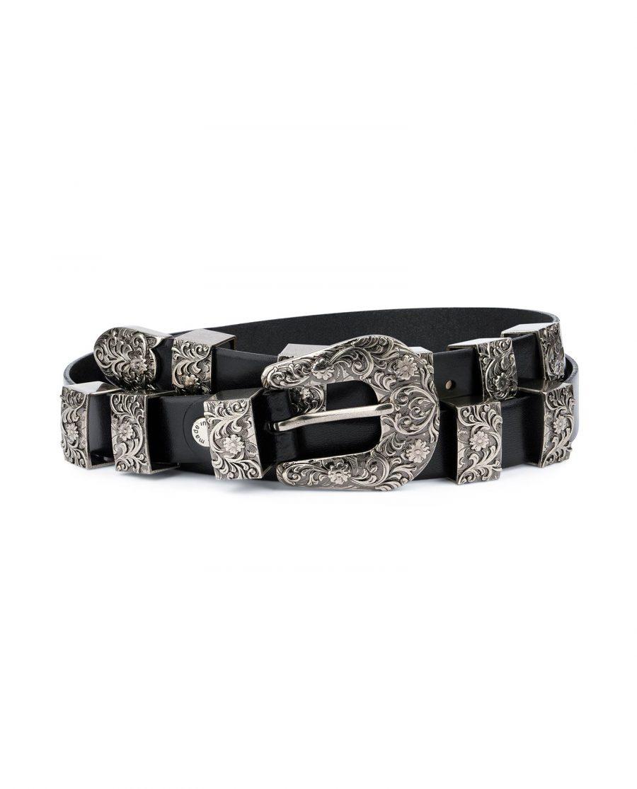 Western Belt for Ladies in Black Leather 1