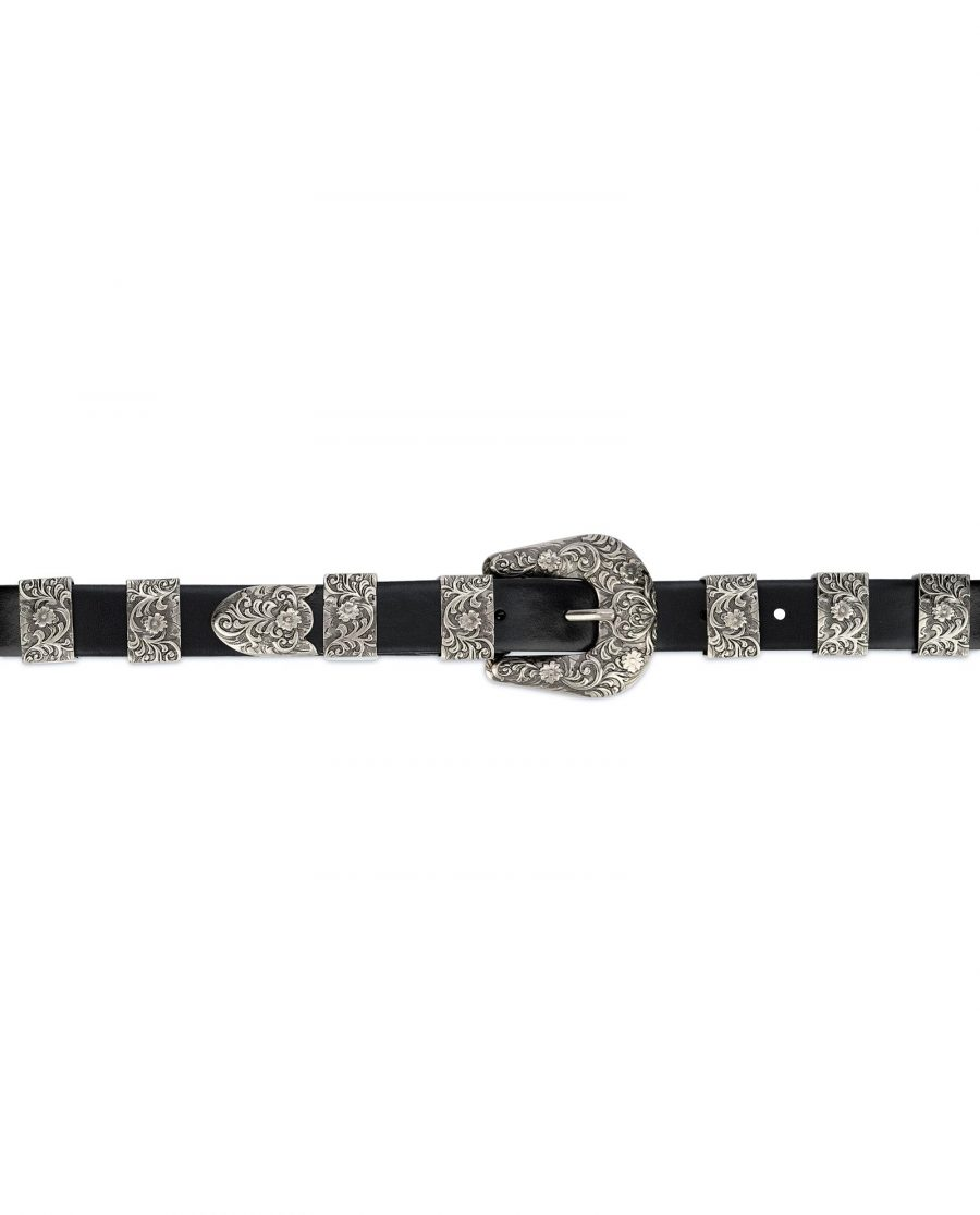 Western Belt for Ladies in Black Leather 3