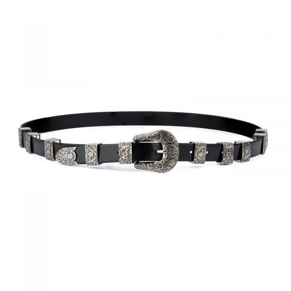 Western Belt for Ladies in Black Leather 5