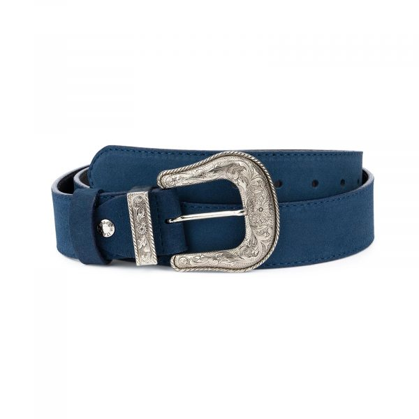 Western Cowboy Belt Blue Suede Leather 1