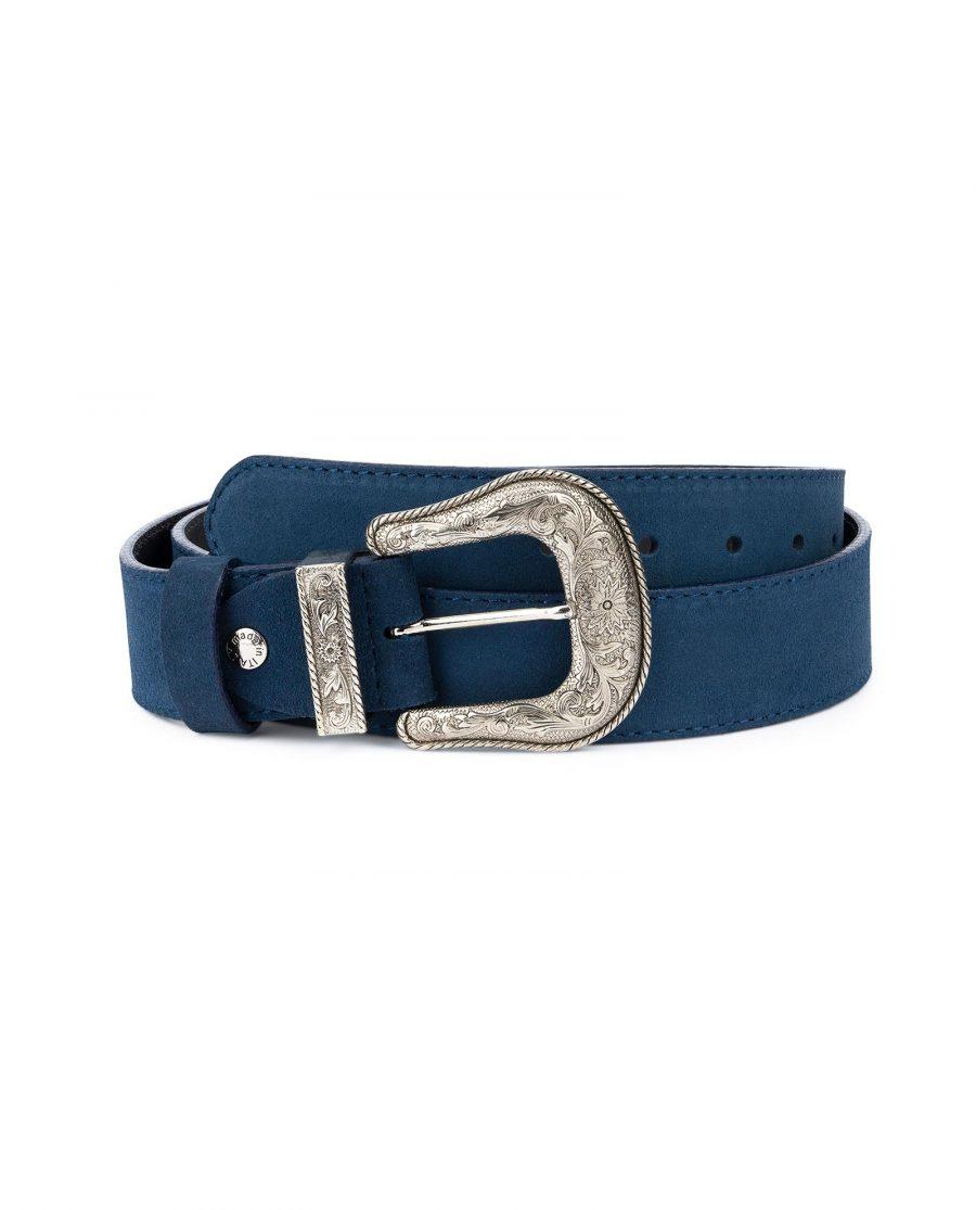 Western Cowboy Belt Blue Suede Leather 1