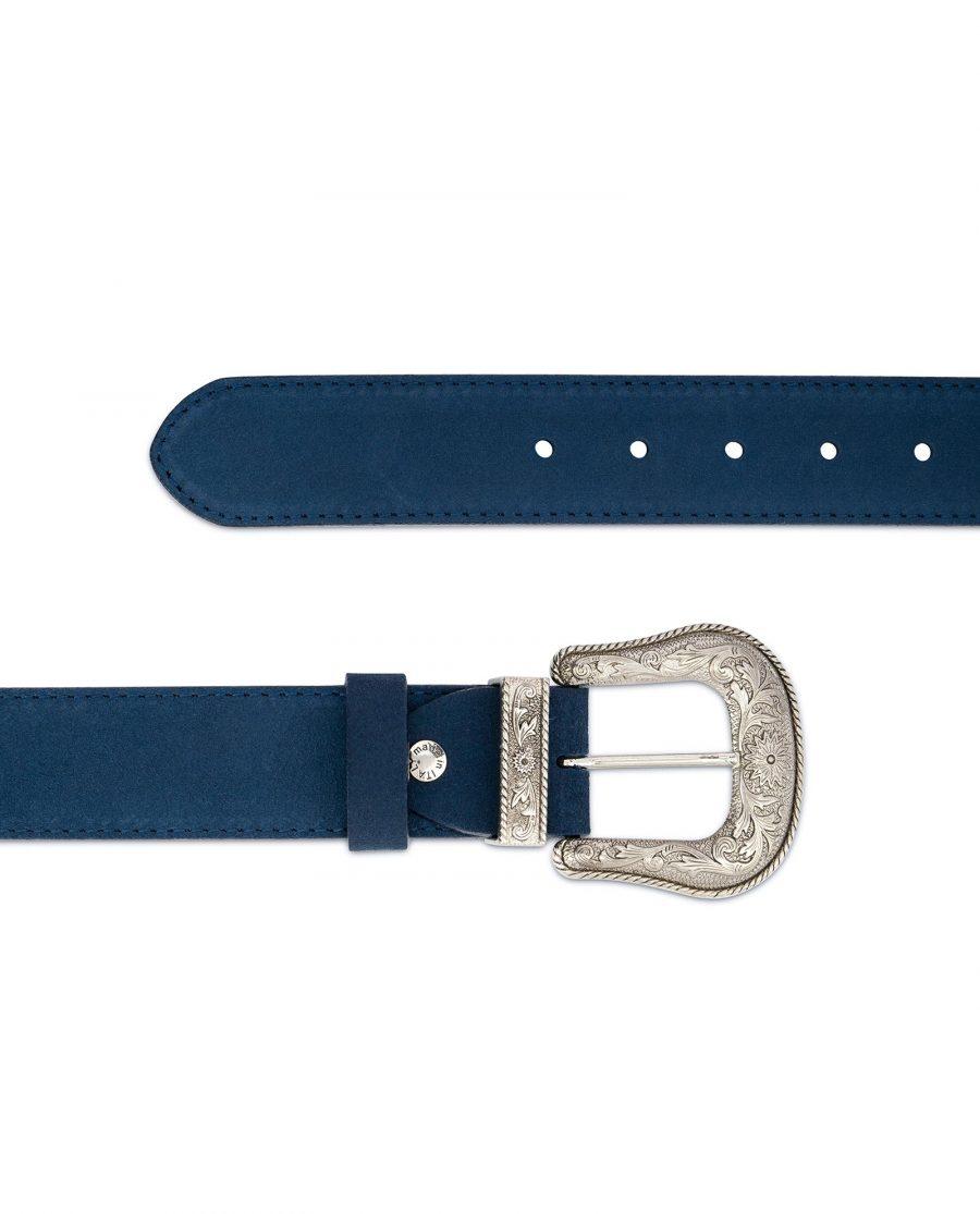 Western Cowboy Belt Blue Suede Leather 2
