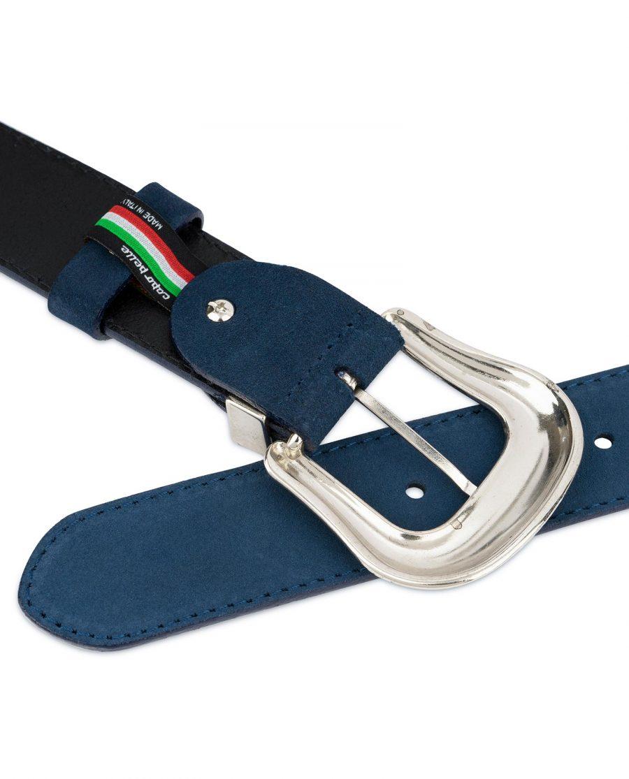 Western Cowboy Belt Blue Suede Leather 4