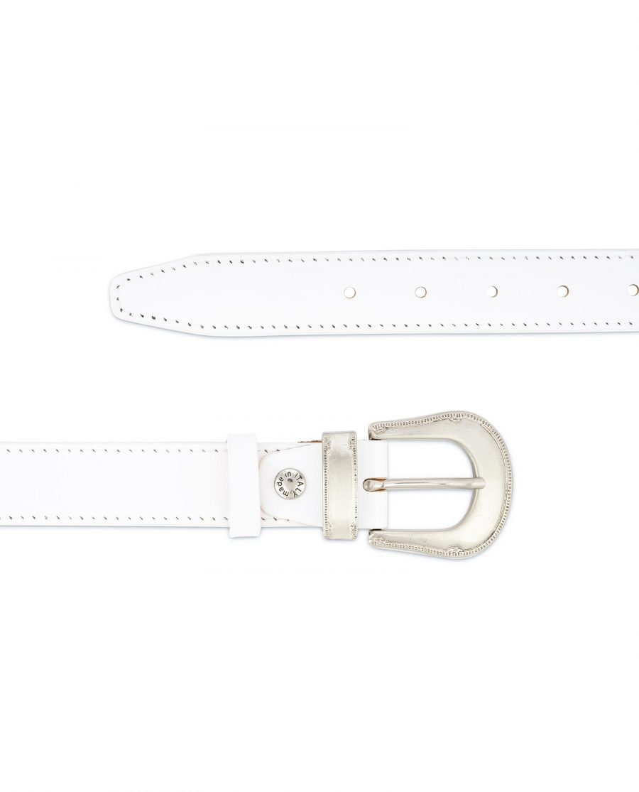 White Western Belt for Women 2