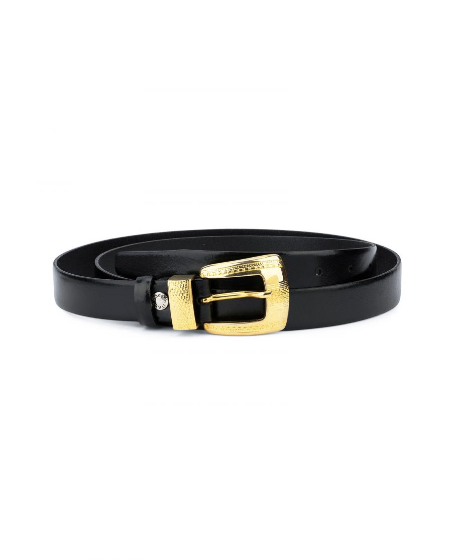 Womens Black Belt With Gold Buckle 1