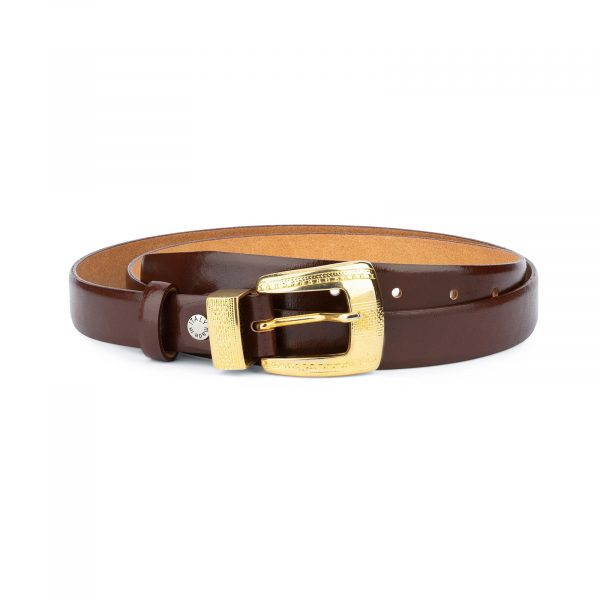 Womens Cognac Belt With Gold Buckle 1