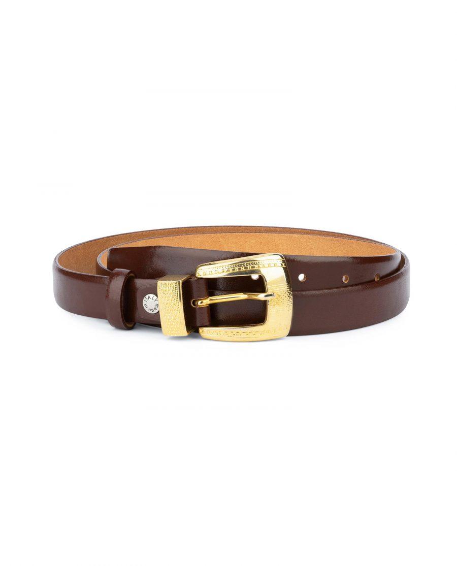 Womens Cognac Belt With Gold Buckle 1