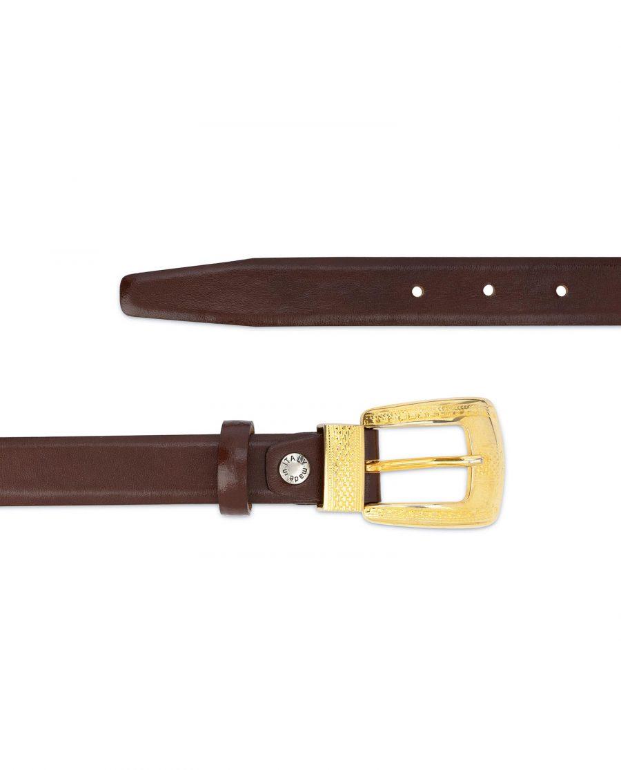 Womens Cognac Belt With Gold Buckle 2
