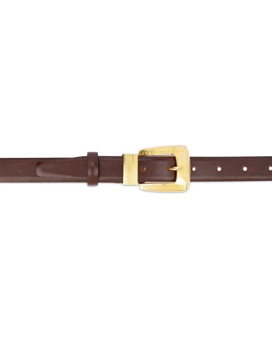 Womens Cognac Belt With Gold Buckle 3