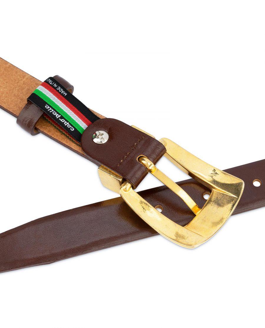 Womens Cognac Belt With Gold Buckle 4