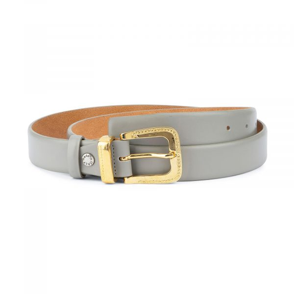 Womens Grey Belt with Golden Western Buckle 1