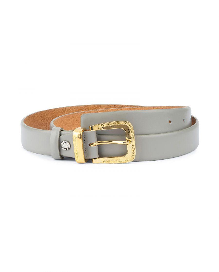 Womens Grey Belt with Golden Western Buckle 1