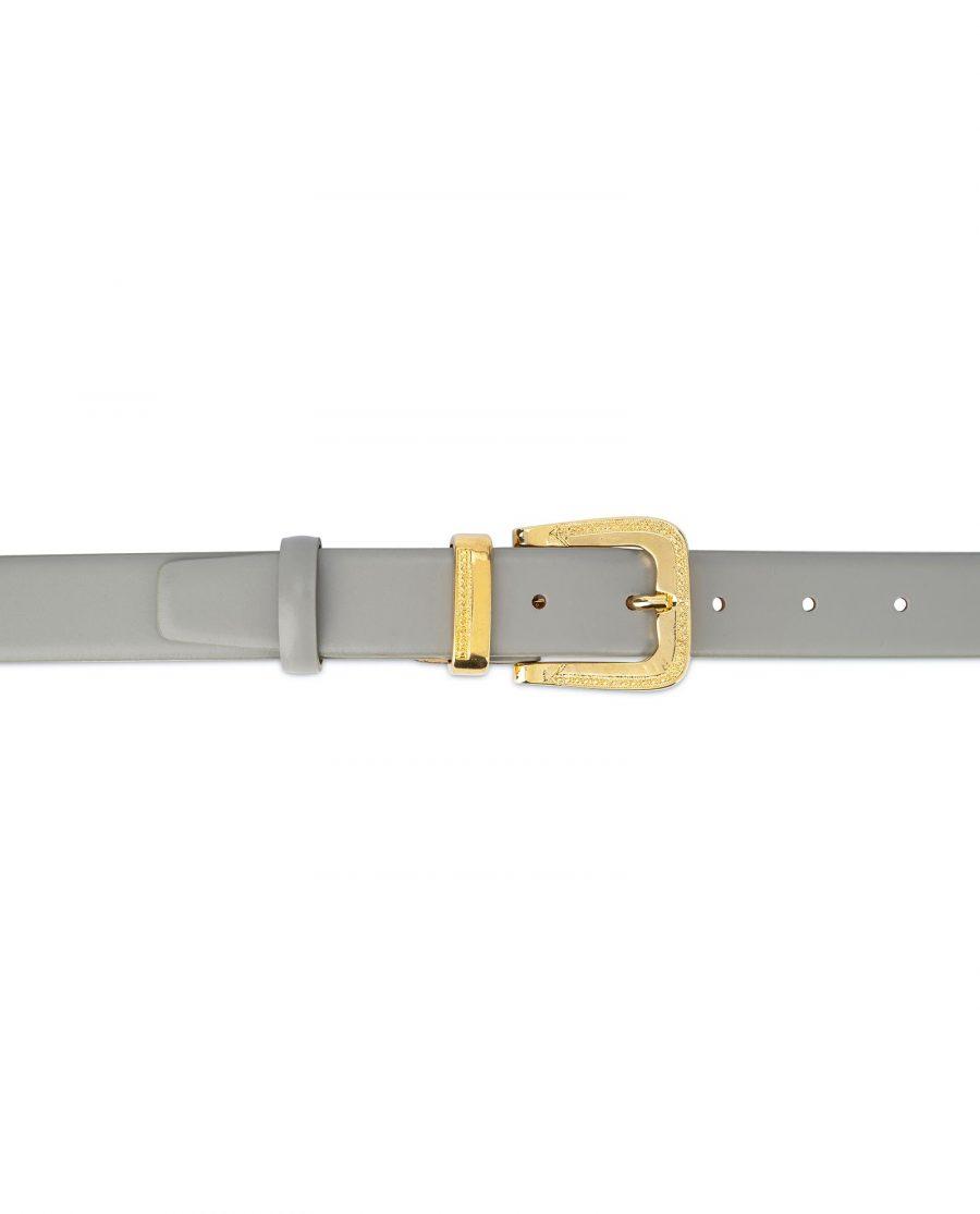 Womens Grey Belt with Golden Western Buckle 3