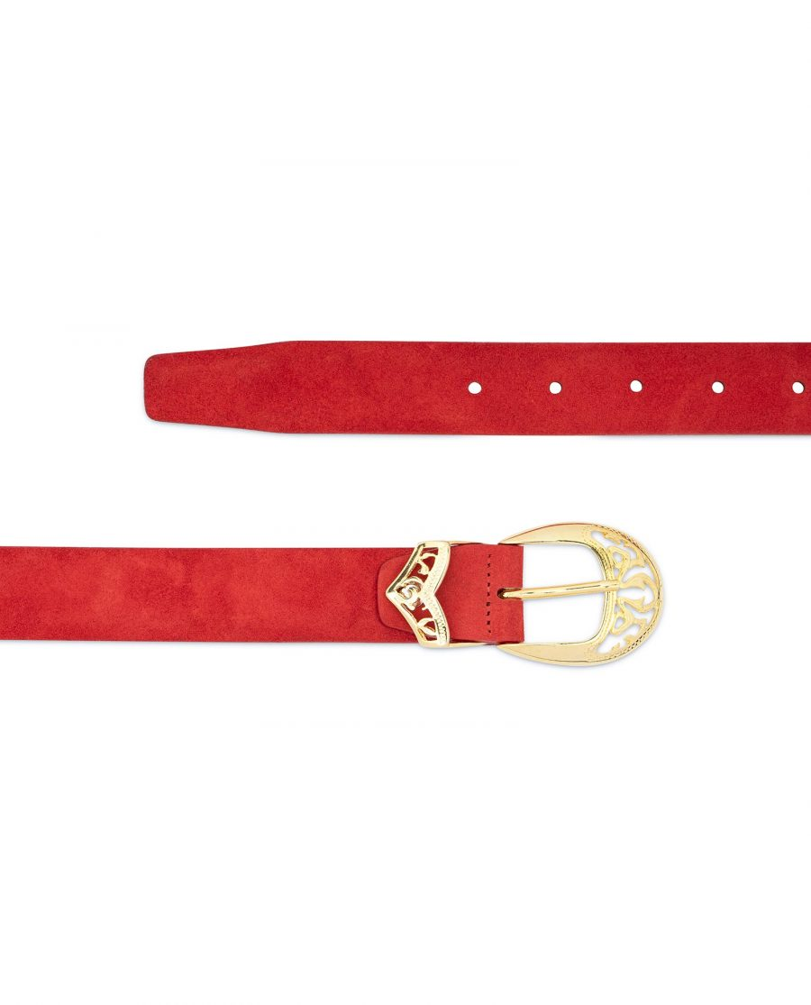 Womens Red Suede Belt with Gold buckle 2
