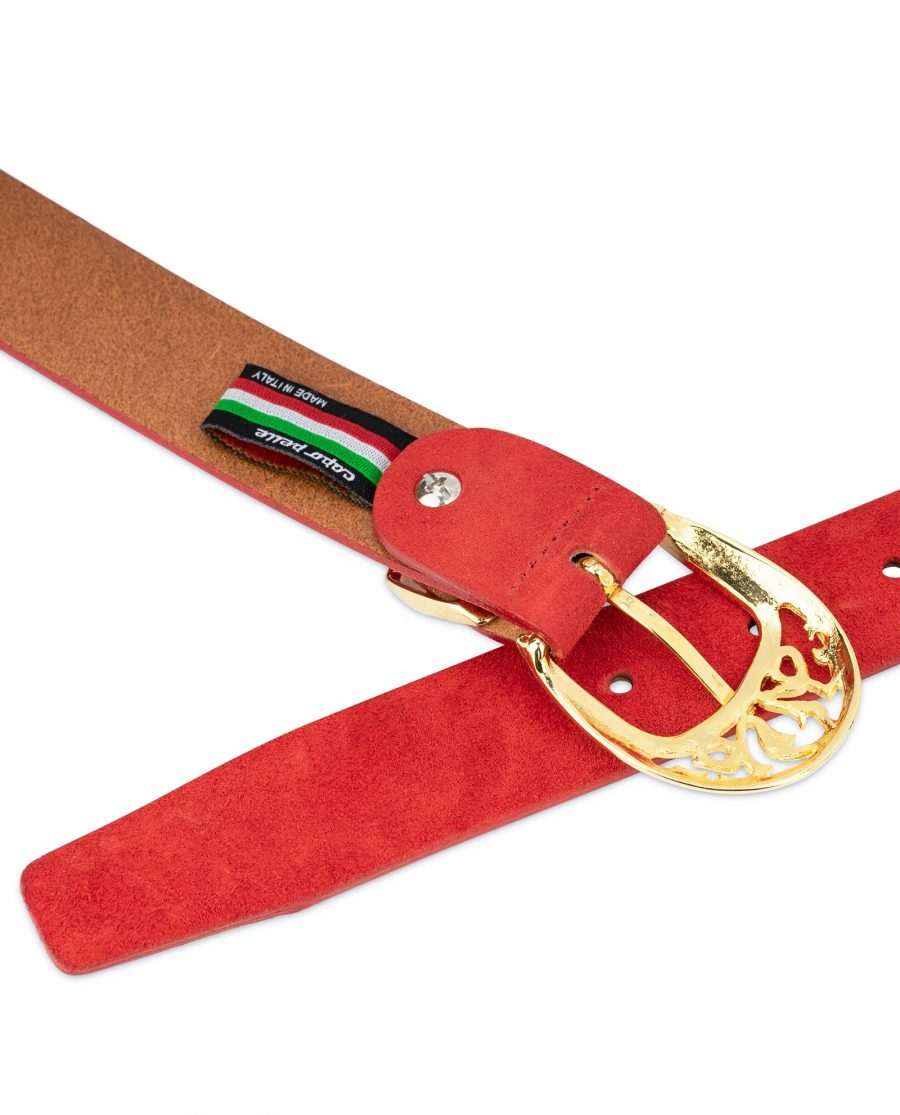 Womens Red Suede Belt with Gold buckle 4