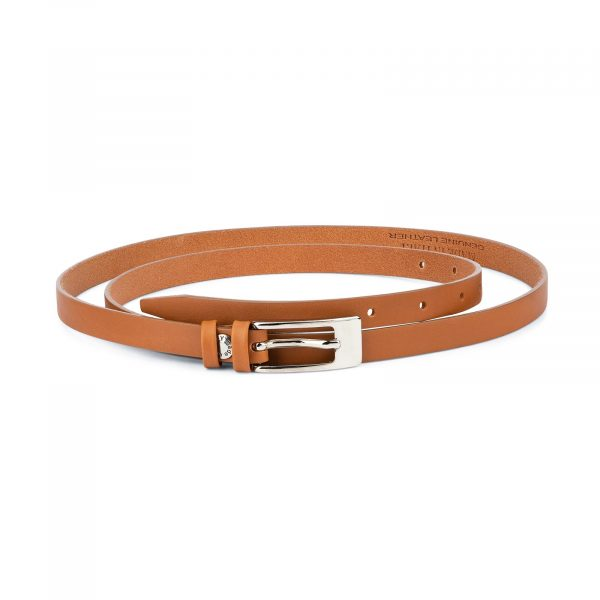 Womens Tan Belt Skinny Thin