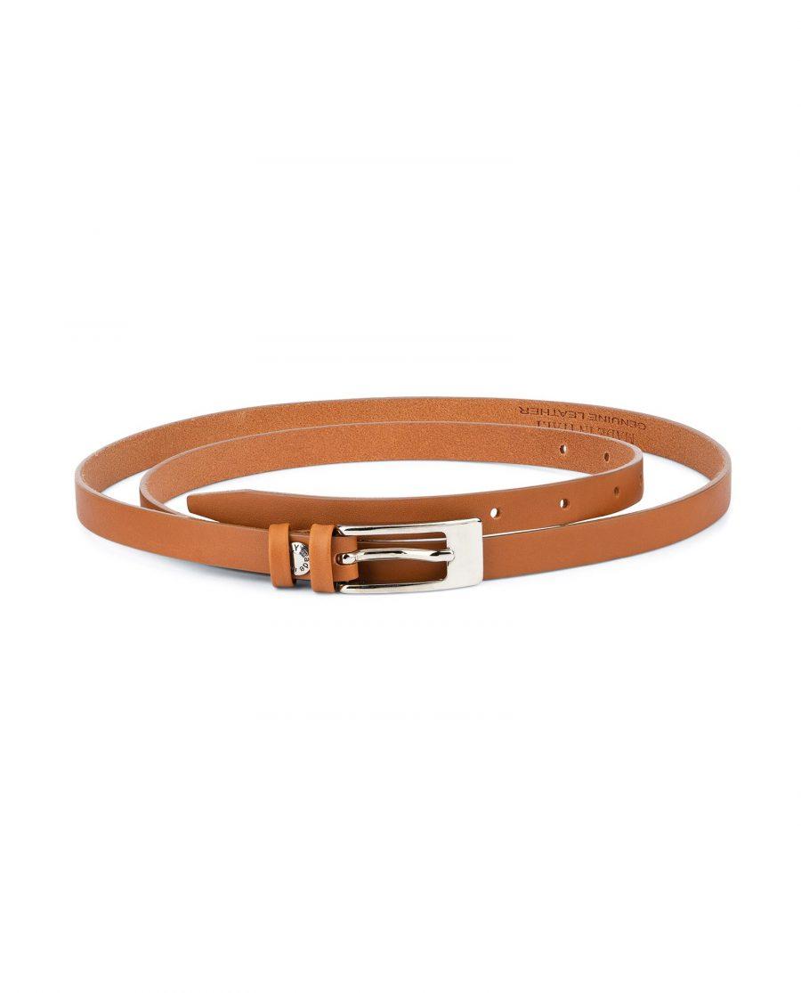 Womens Tan Belt Skinny Thin