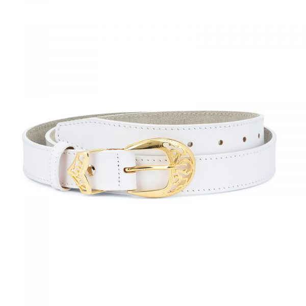 Womens White Western Belt with Gold Buckle 1