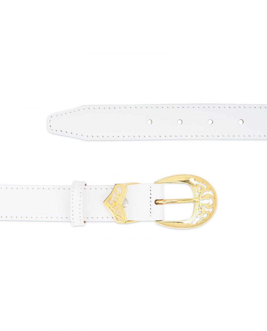 Womens White Western Belt with Gold Buckle 2