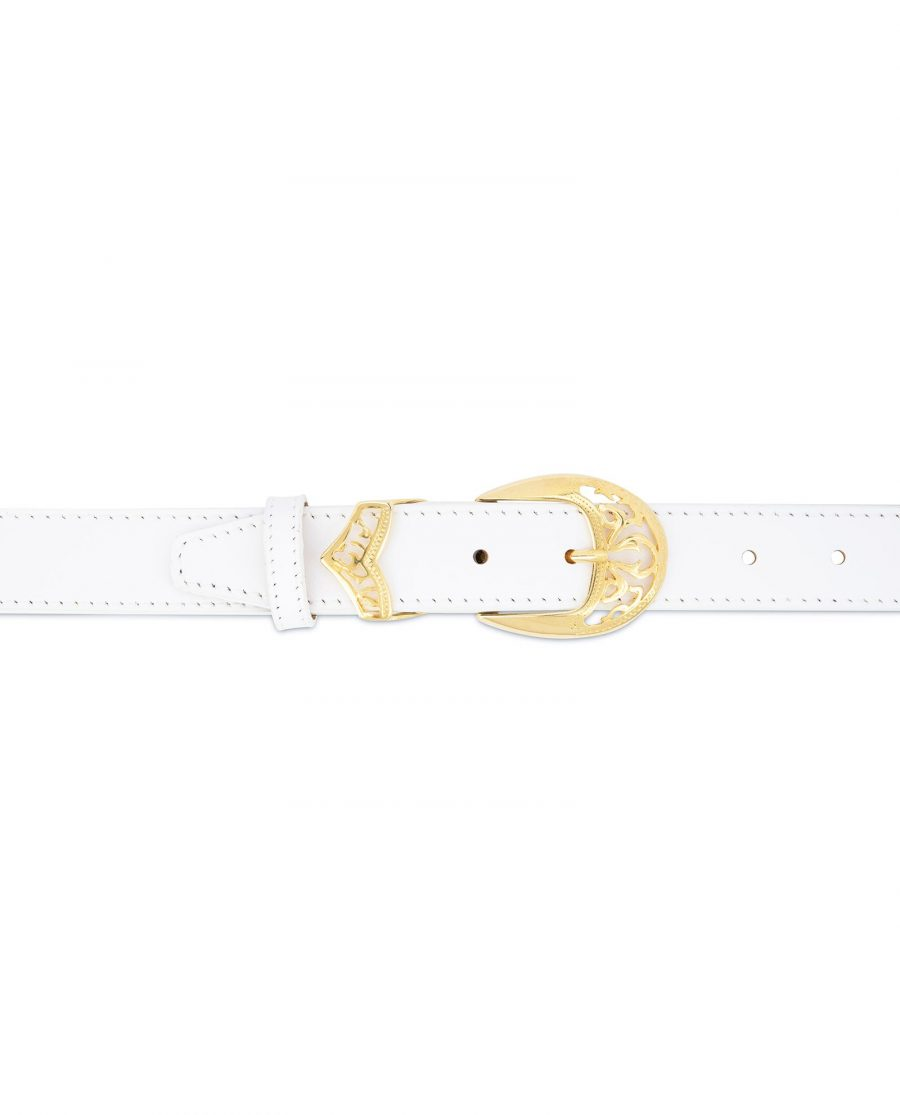 Womens White Western Belt with Gold Buckle 3