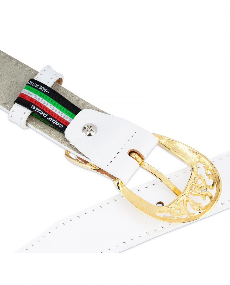 Womens White Western Belt with Gold Buckle 4