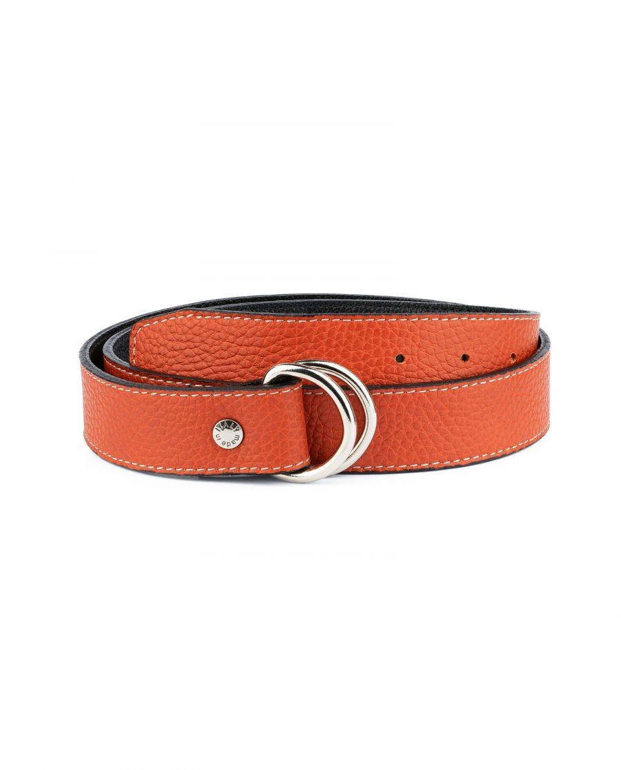 Dark Orange D Ring Belt 1