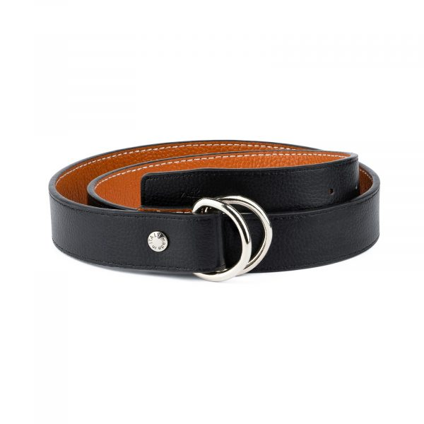 Double Loop Belt Black Beige 1