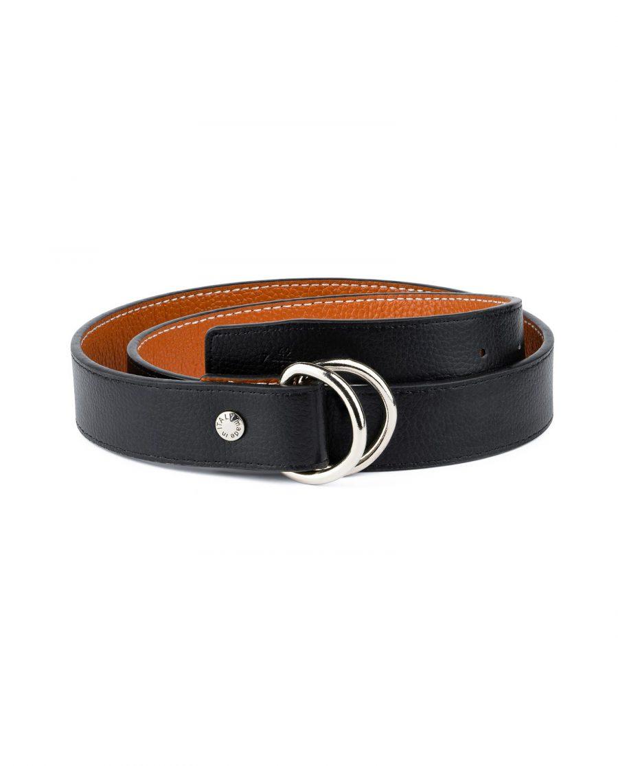 Double Loop Belt Black Beige 1
