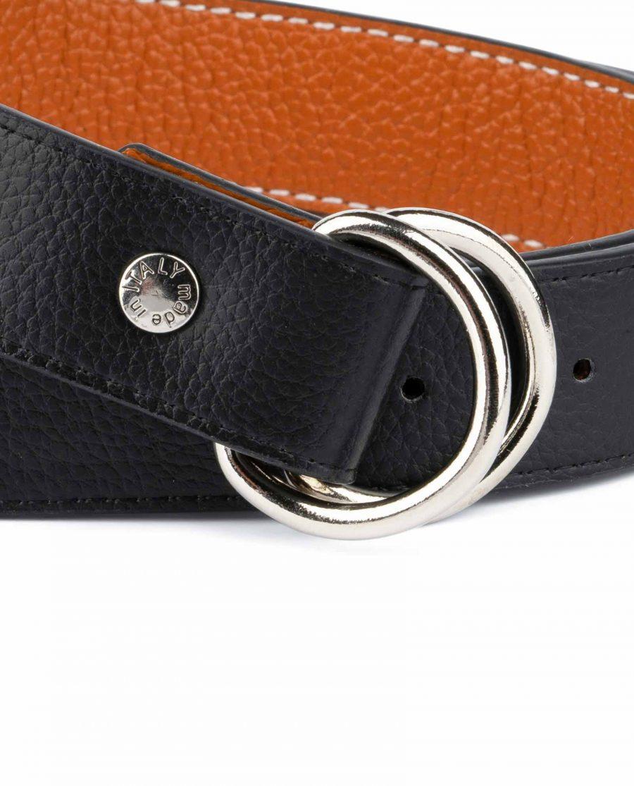 Double Loop Belt Black Beige 2