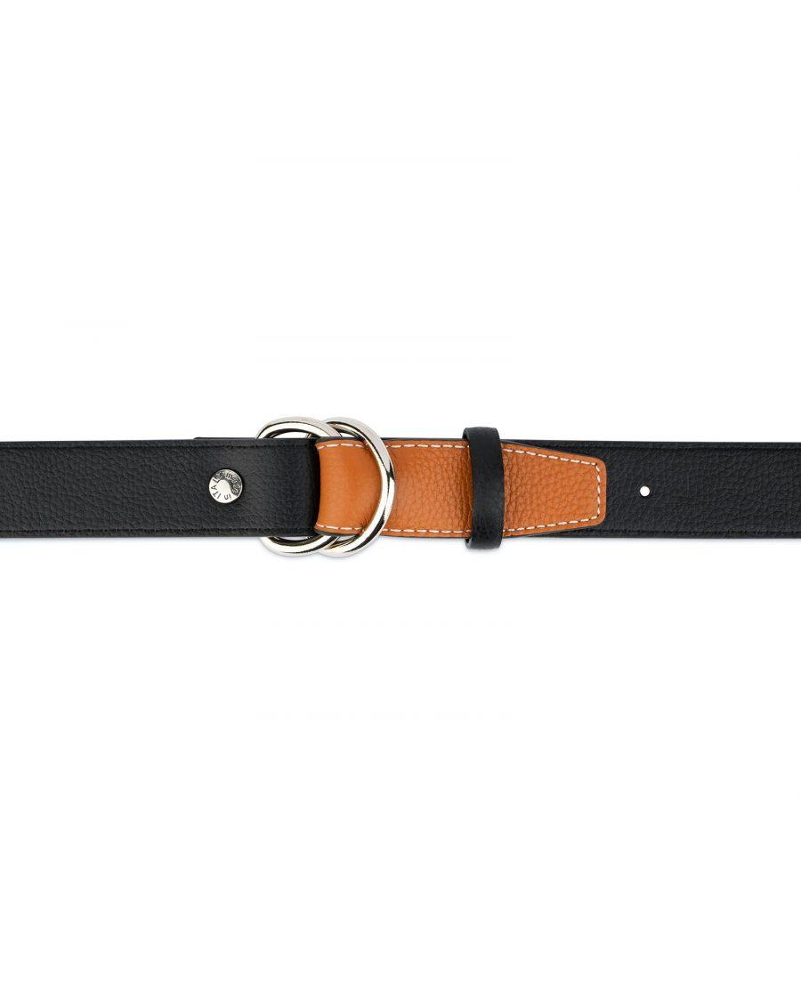 Double Loop Belt Black Beige 4