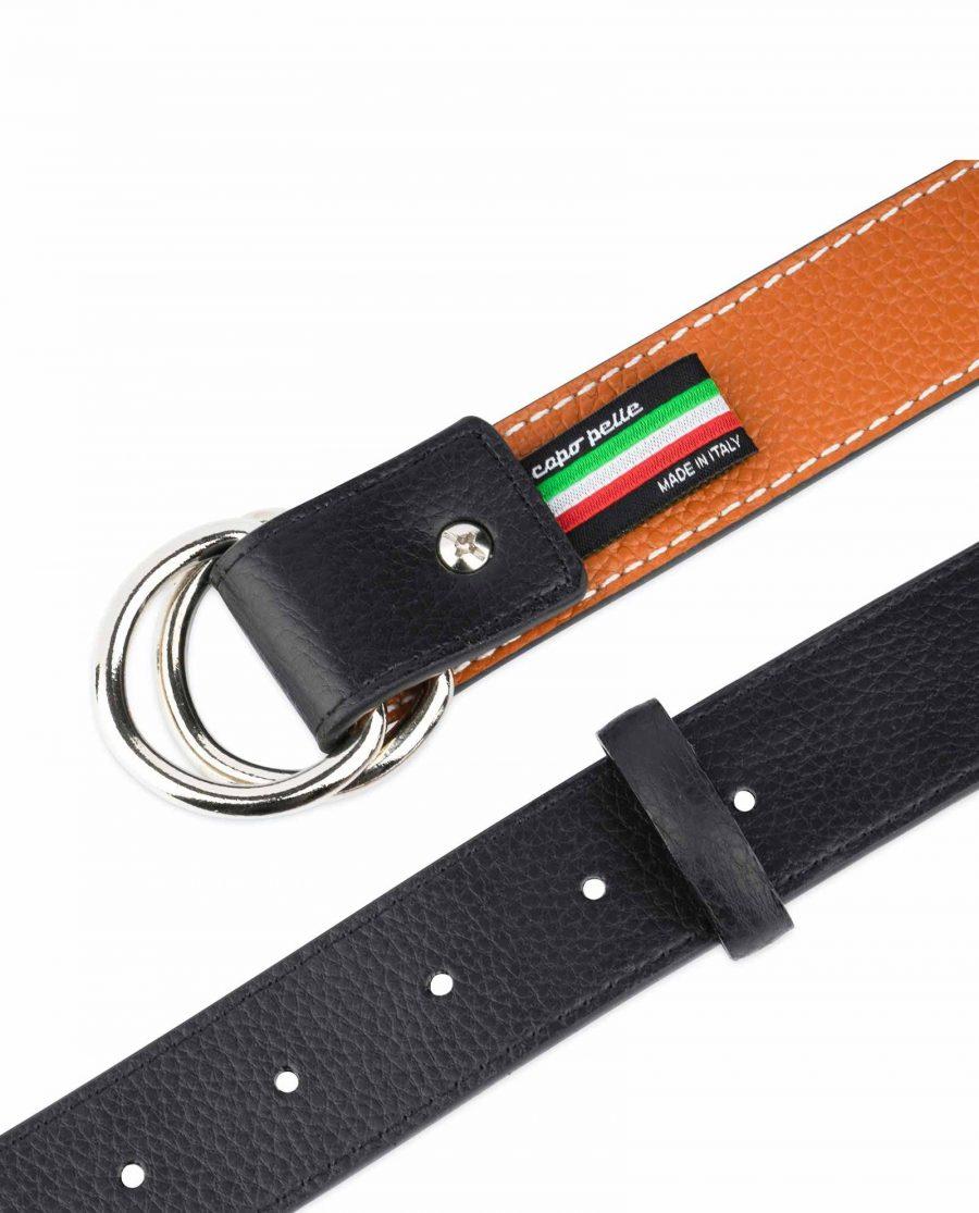 Double Loop Belt Black Beige 7