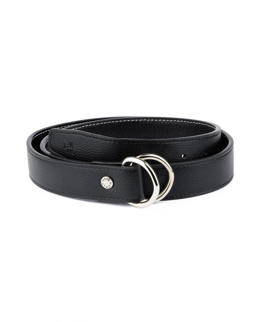 Mens D Ring Belt Black Leather 1